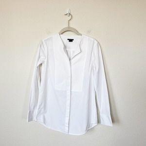 [Theory] Bib Front Collarless Button Down Shirt